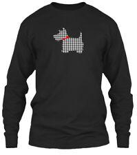 Scottie Dog Scottish Terrier T Black White Plaid Gildan Long Sleeve Tee T-Shirt