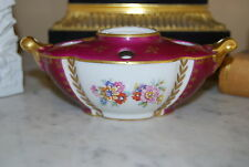 Wonderful Limoges France Neoclassical Hp Flowers Decorated Porcelain Ink Well