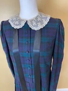 Vintage Laura Ashley Edwardian Sailor Dress Plaid Tartan green black Ribbon Lace