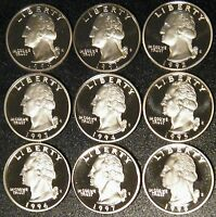 1990-1998 S Washington Quarter Gem Deep Cameo Proof Run 9 Coin Set US Mint Lot.