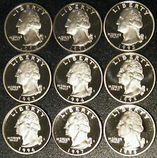 1990-1998 S Washington Quarter Gem Deep Cameo Proof Run 9 Coin Set US Mint Lot