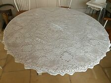 "Vintage ROUND White LACE Cotton Tablecloth 62"" Diameter"