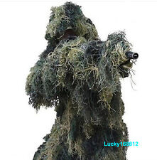 Camouflage Sniper Ghillie Suit w/ Jacket, Pant, Head Cover, Rifle Cover Hunting