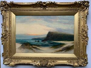 WILLIAM LANGLEY - LISTED VICTORIAN ARTIST - Devon Coast - OIL on CANVAS - NO RES