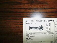 1971 Checker Motors SIX Series Car & Taxi Models 145HP 250 CI L6 Tune Up Chart