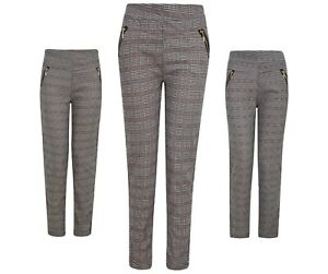 Ladies Womens Leggings Trousers Jeggings Stretch Elasticated Pattern Size Check