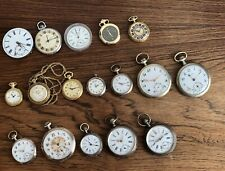 Vintage Pocket Watch Lot Mens + Ladies Glashütte And Others Silver Cases (7 Run)