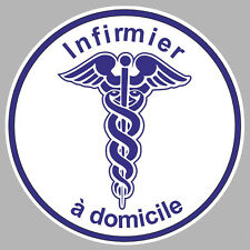 INFIRMIER A DOMICILE CADUCEE 100mm AUTOCOLLANT STICKER IA063