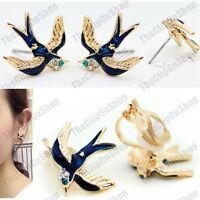 CLIP ON crystal BIRD EARRINGS blue enamel GOLD FASHION studs/clips SWALLOW birds