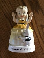 1943 Rare Napco ALICE IN WONDERLAND Figurine Japan w White Rabbit