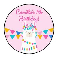 30 Llama Birthday party stickers Fiesta pink favors round shower personalized