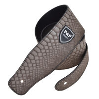 Electric Acoustic Guitar Bass Strap PU Leather Embossed Snake Skin Style Gray