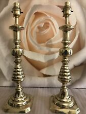 SUPERB PAIR OF LARGE ENGLISH ANTIQUE BRASS TABLE LAMPS c1837-1901 H40cm RD223580