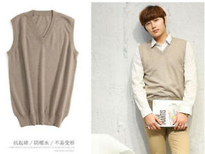 6624 New Men's Cashmere Loose Pullover V Neck Knit Long Sweaters Jumpers Vest