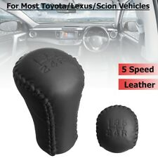 5 Speed Stitch Gear Shifter Shift Knob Head Leather For Most Toyota Lexus Scion