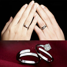 Lover Silver Crystal Couple Rings Man and Woman Promise Rings Jewelry