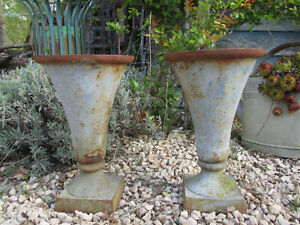 "ANTIQUE PAIR CAST RUSTED TRIANON GREY IRON NEOCLASSIC ART DECO STYLE URNS H13""78"