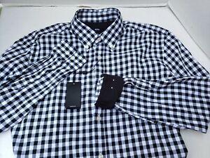 New Hugo Boss Black White Check Button Up Slim Fit Men's Shirt L