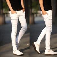 Stylish Mens Skinny Elasticity Denim Tightfitting Boot Cut Jeans Pants Trousers