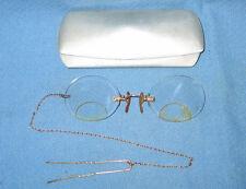 Rare Antique Tiny Clip-on Gold Plate FITS-U Co Eyeglasses AO Aluminum Case 1909