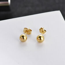 Women Jewelry 18K Yellow Gold Plated 5mm Round Bead Ball Stud Earrings Xmas Gift