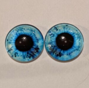 Blue  glass cabachon eyes great for taxidermy, needle felting, toy making