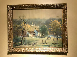 Vintage Leith Ross Bucks County Landscape Gold Guild Framed Lithograph Art *WOW*
