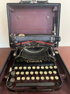 1914 Corona Typewriter 3 (Standard Folding). In Its Original Case