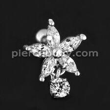 316L Surgical Steel Cartilage Helix Tragus Flower Jeweled Ear Stud Piercing