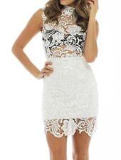 Knee Length Lace Women's High Neck Dresses