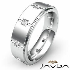 14k White Gold 9mm Ring 0.60Ct Bezel Princess Diamond Eternity Mens Wedding Band
