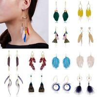 Boho Round Hollow Feather Drop Earrings Dangle Ear Stud Hoop Women Jewelry Gift