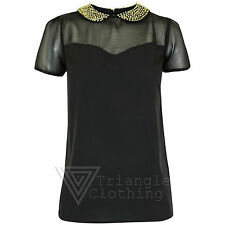 Polyester Collared Classic Blouses for Women