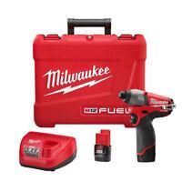 Milwaukee M12 FUEL Li-Ion 1/4 in. Hex Impact Driver Kit 2453-22 New