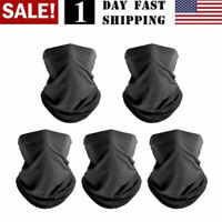 5 Pcs Black Pure Bandanas Ourdoor Hiking Headband Scarf Neck Gaiter Balaclava US