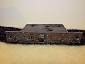 ANTIQUE VICTORIAN 1873 ORNATE BRASS DOOR LOCK PLATE M.W. & CO. DETAILED