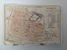 Plan of Brescia, Italy, 1909 antique map, original
