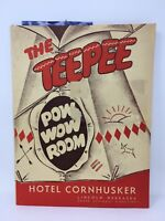 1953 The Teepee Pow Wow Room Menu Hotel Cornhuskers Lincoln Nebraska Vintage