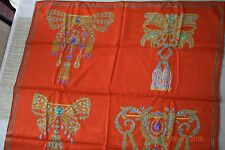 VINTAGE MUST DE CARTIER RED SILK SCARF W JEWELED BROOCHES MADE IN ITALY