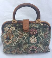 Vintage Tapestry Purse Bamboo Frame Handle Leather Snap