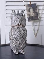 Spardose Eule Sparbüchse Sparschwein Eulenfigur Tierfigur Uhu Skulptur Silber