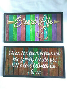 """Blessed Life, Bless This Food Grace  Prayer  Kitchen  Wall Decor Sign  4""""X8"""""""