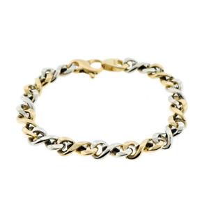 14K Two Tone Gold Men's Link Bracelet