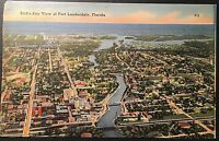 Fort Lauderdale Bird's Eye View Vintage Postcard 1942 Postmark Linen E168