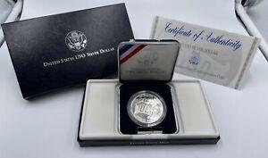 1991 S BU USO Silver Dollar Commemorative Coin w/ Box & COA UNCIRCULATED US Mint