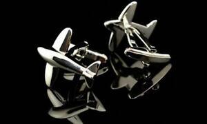 NEW Airplane Cufflinks Silver