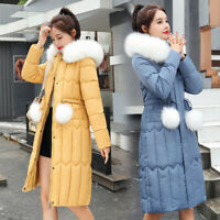 Womens Fur Collar Overcoats Hooded Quilted Jackets Warmer Padded Coat 6 Colors