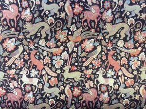 Traditional Vintage Woodland Tapestry Designer  Curtain/Upholstery Fabric Black