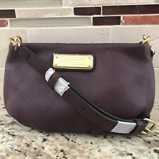 NEW Marc Jacobs Q PERCY Leather Cross body  Purse Handbag Small Purple Burgundy