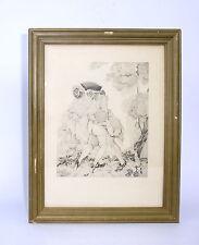 Erotische Kunst Radierung um 1910 Signiert Frankreich